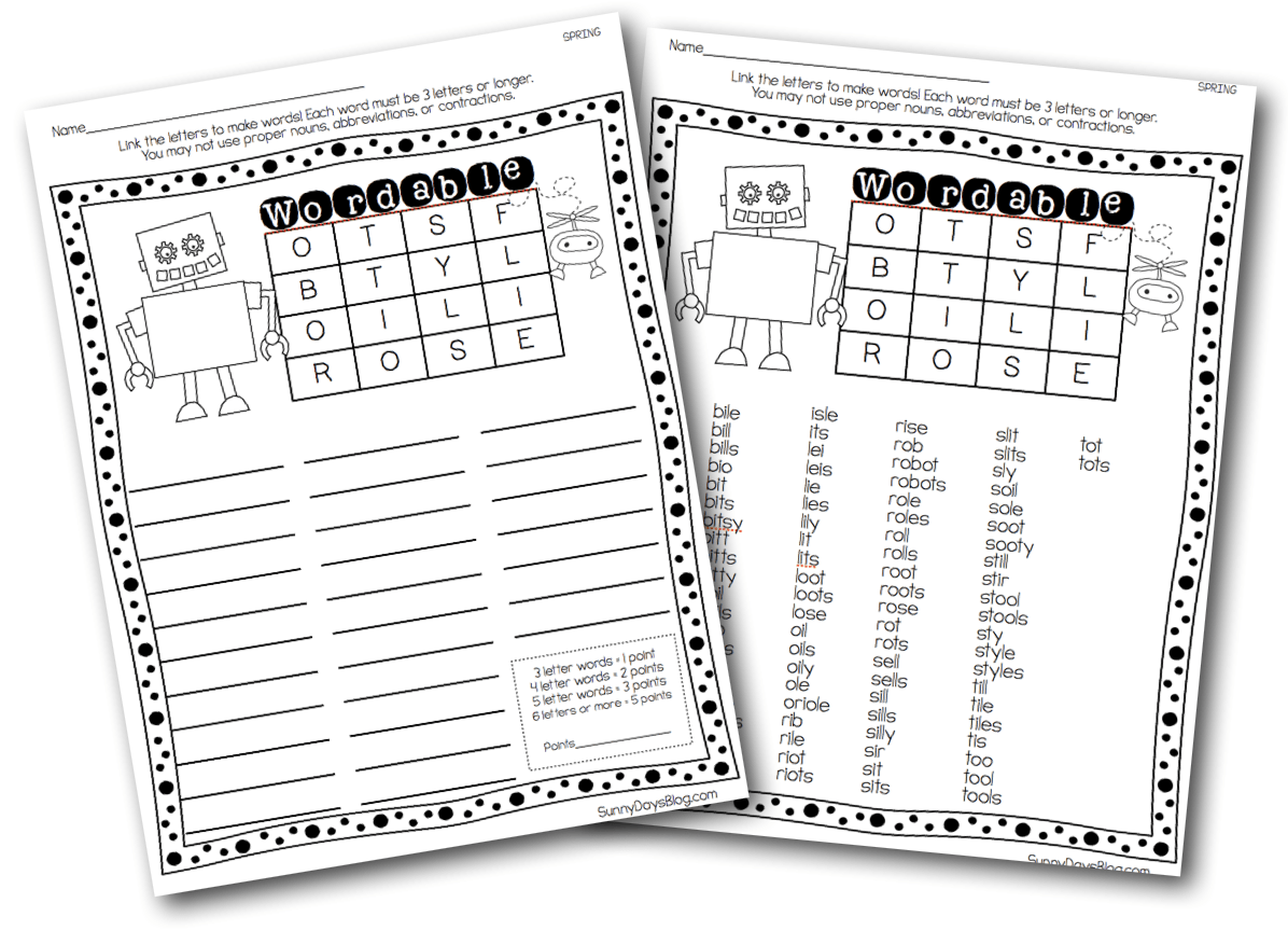 Printable Boggle Style Word Puzzles