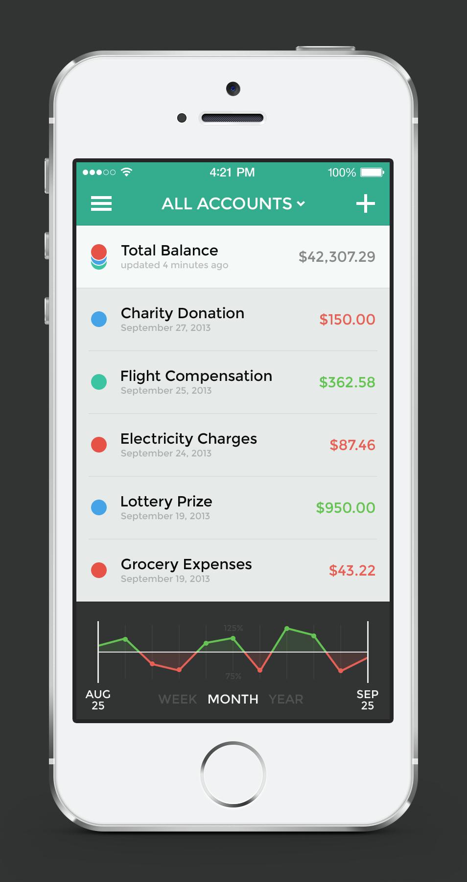 Banking app — Menu & Transactions / Jona Mobile iOS7