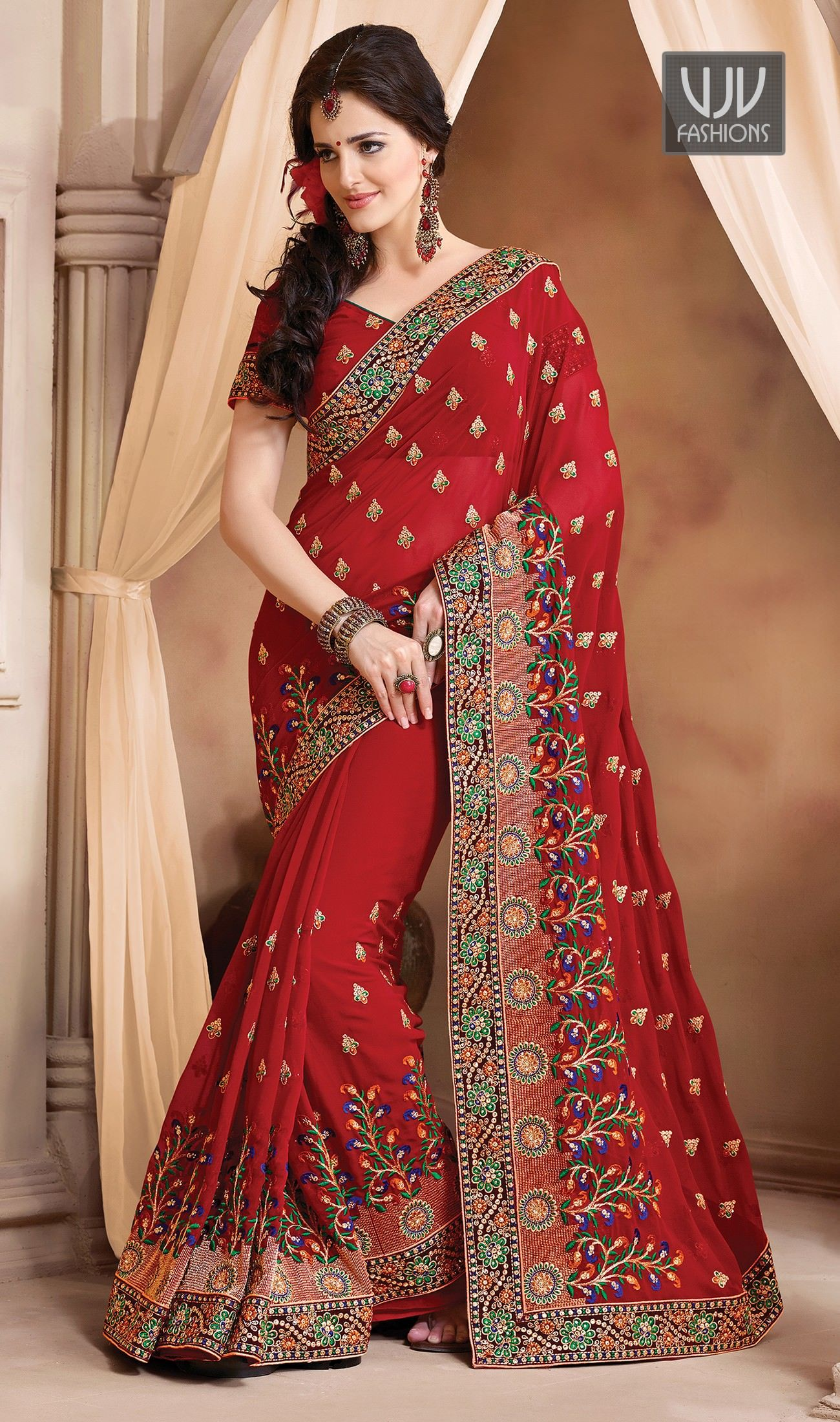 Red wedding saree by VJV Fashions. weddingsaree