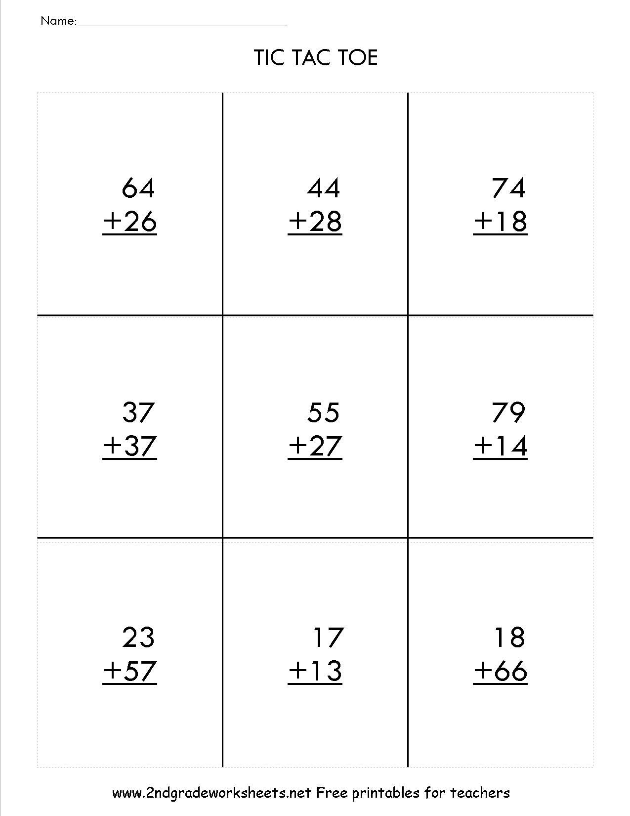 Two Digit Addition With Regrouping Tic Tac Toe Game