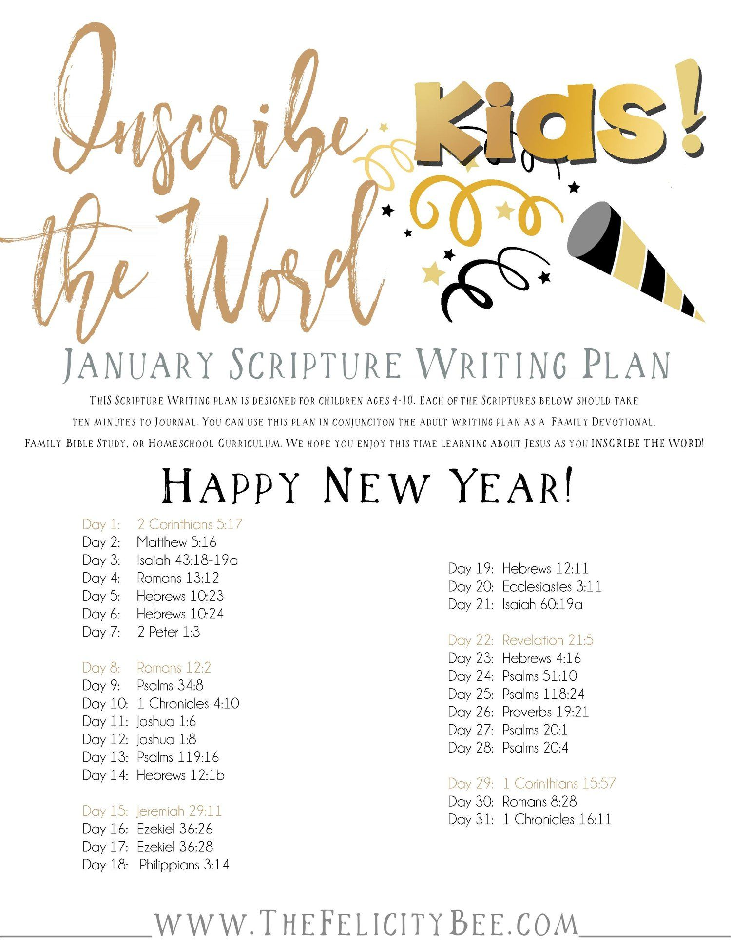 Dec 27 Inscribe the Word KIDS! . . . January Scripture