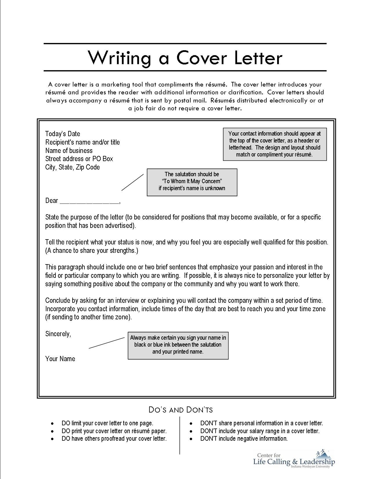Writing a Cover Letter Job Application Resources