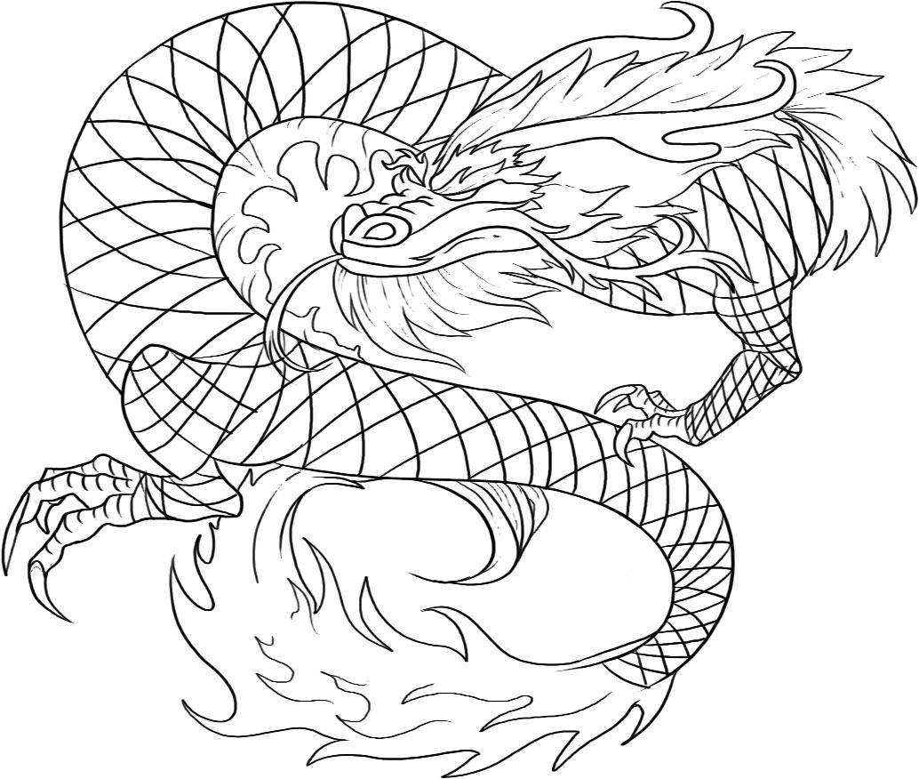 Realistic Dragon Coloring Pages For Adults Free
