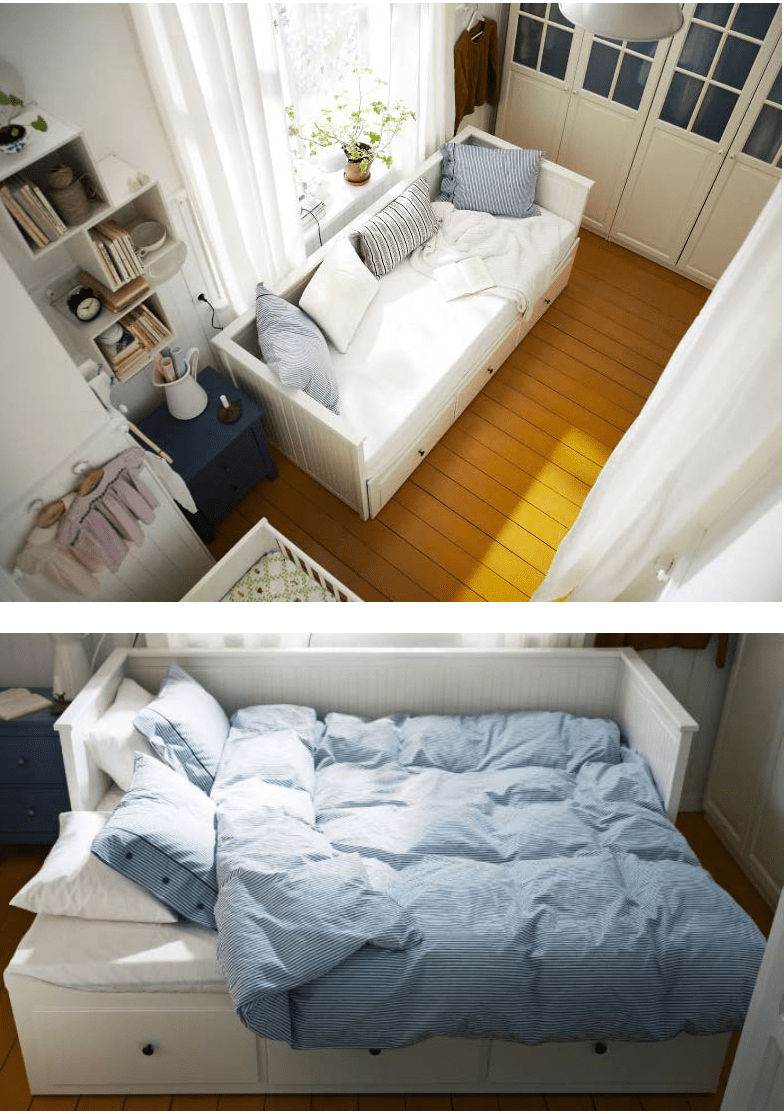 Sofa by day and bed at night, most of our comfy day beds
