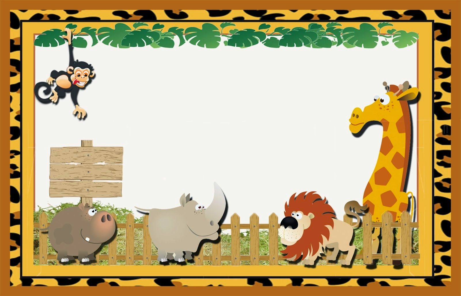 Cute The Jungle Free Printable Invitations Labels Or Cards Kids