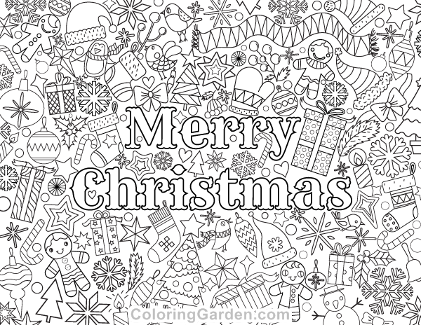 Free printable Merry Christmas adult coloring page