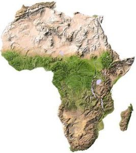 Topographical map of Africa http   www findtripinfo com africa map     Africa maps highlighting the countries featured in our African Travel Guide  with links to country details and popular attractions
