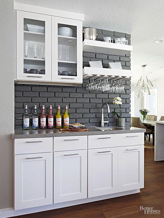 Wet Bar Ideas Grey Countertops Grey Brick And Wet Bars