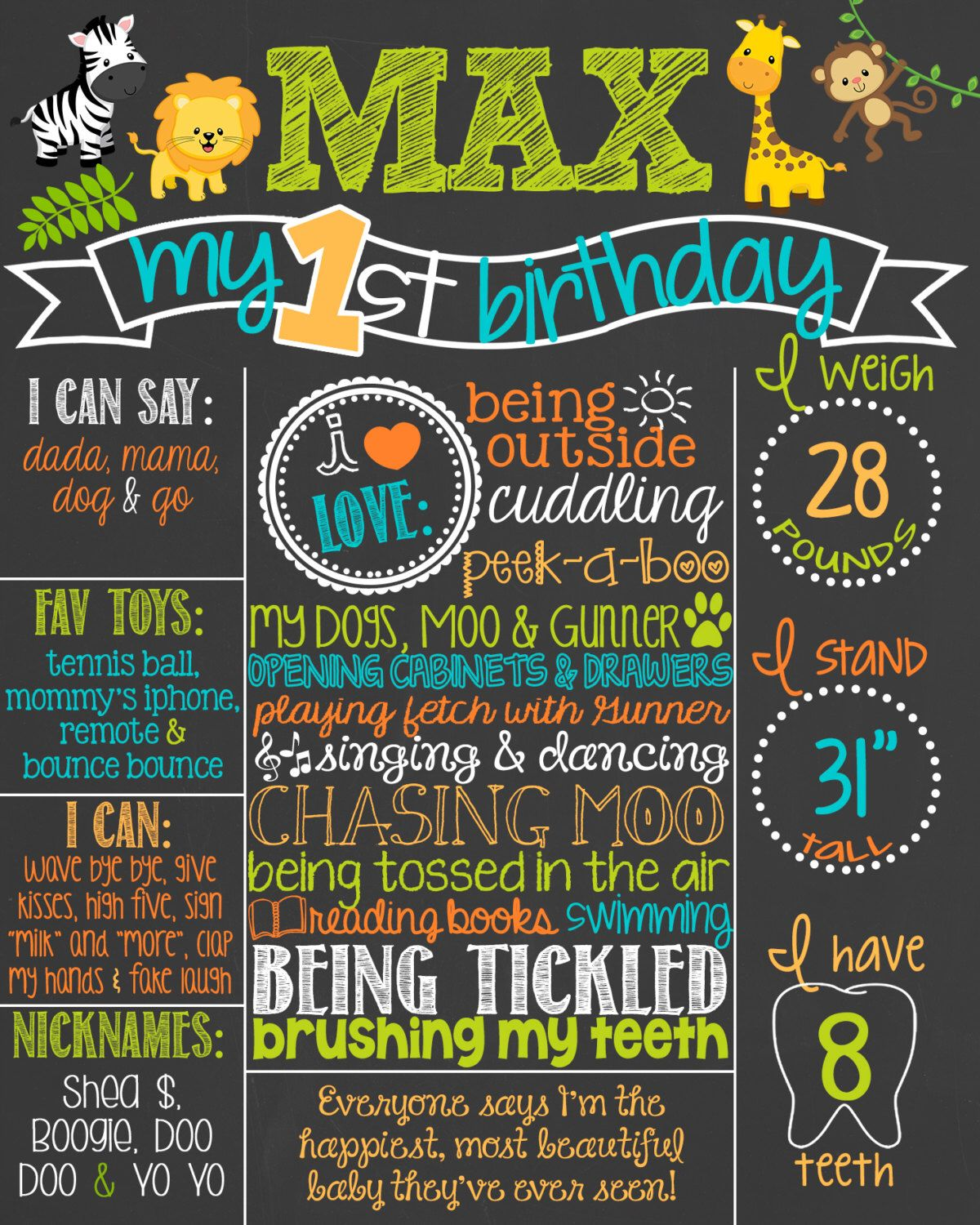 Safari Theme Birthday Chalkboard Poster