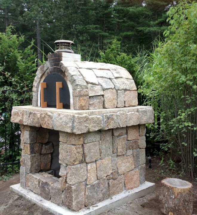 Natural stone wood fired pizza oven in rhode island built