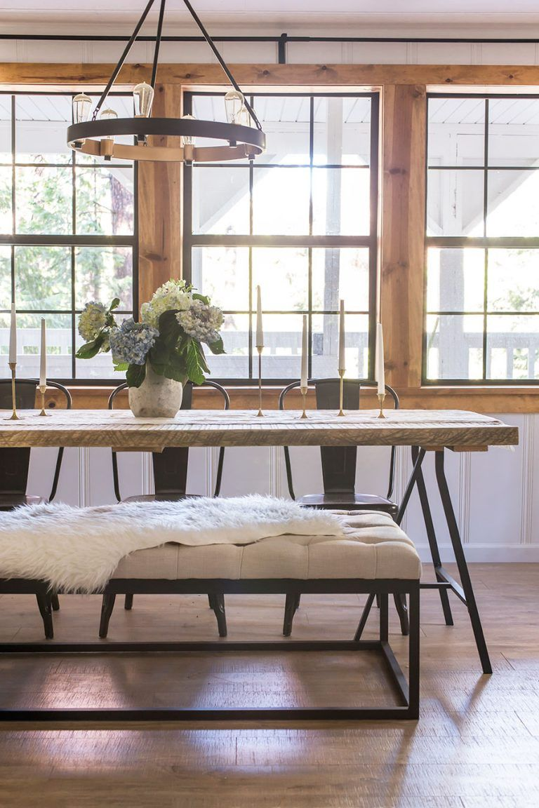 wood and metal dining table with metal chairs and