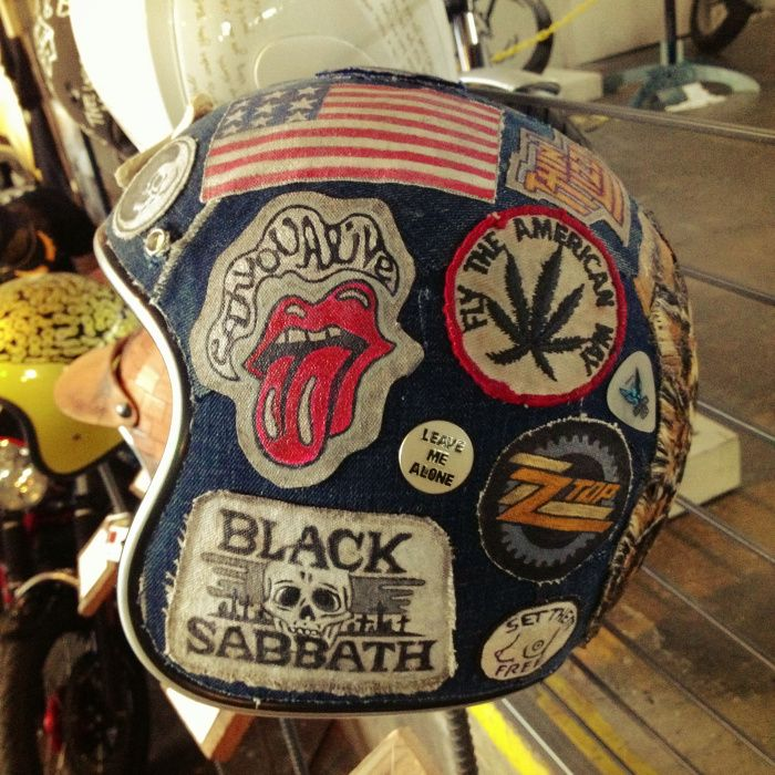 the one motorcycle show 21 helmets 'Sick patch denim