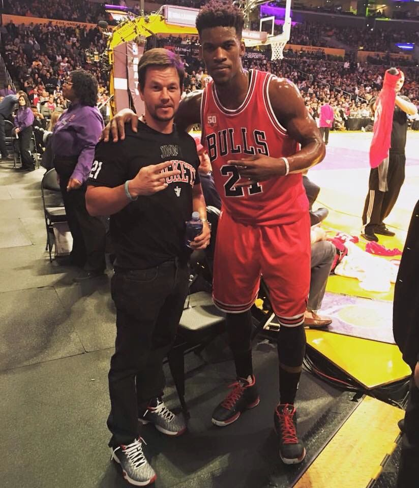 Jimmy Buckets with best friend Mark Wahlberg. Chicago