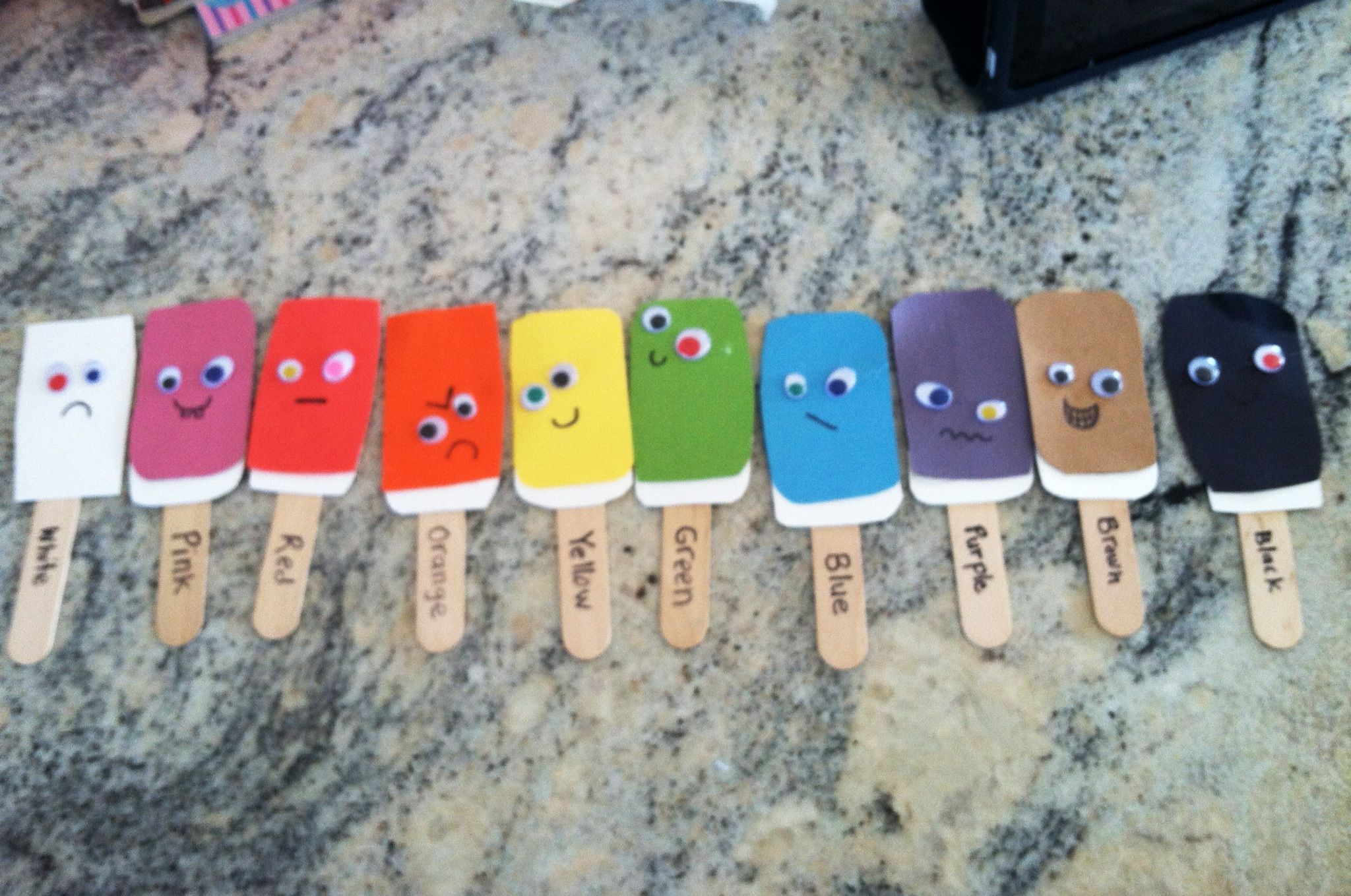 Popsicle Sticks With Different Colors And Emotions Its
