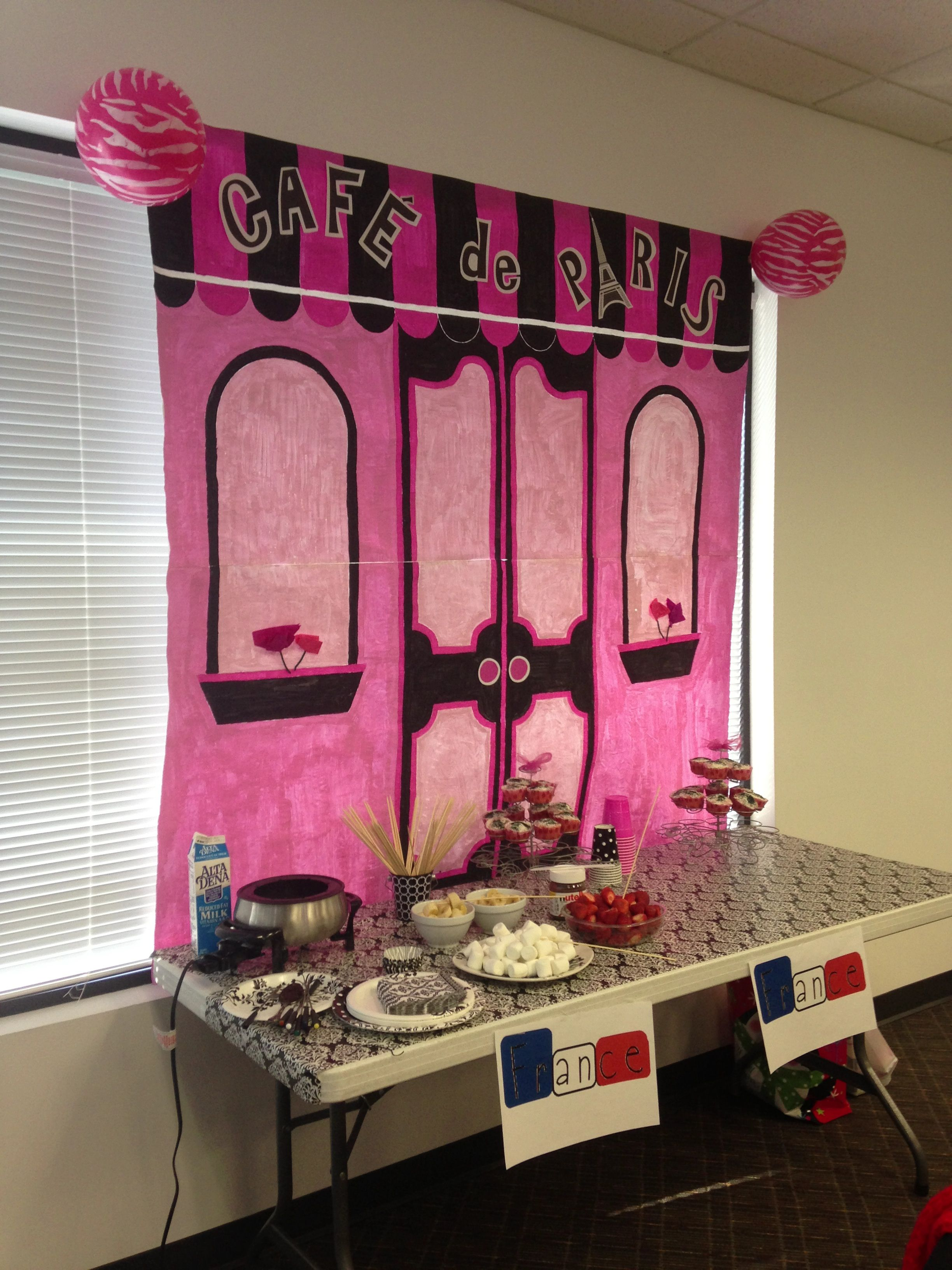Backdrop for our Holiday around the world party..a French
