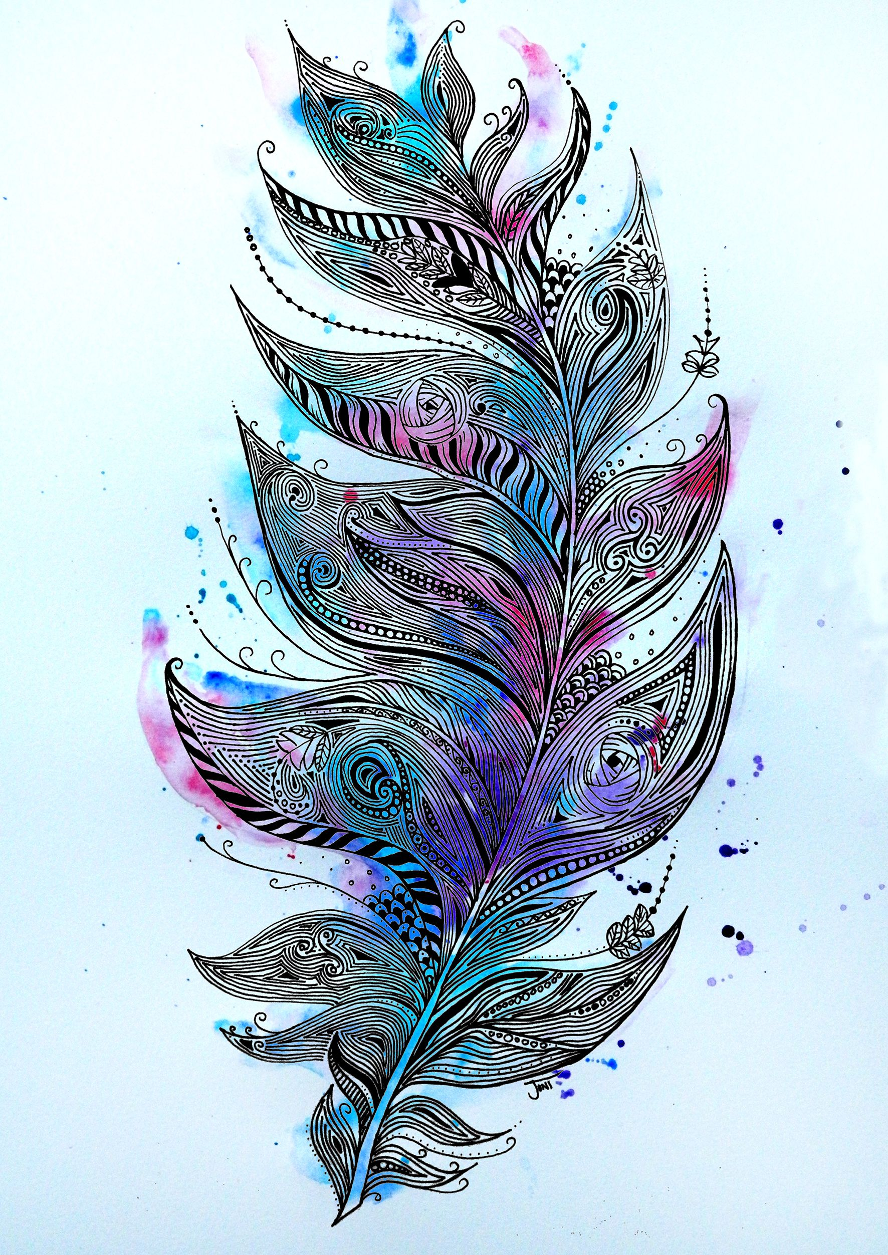 Zentangle Feather Illustration Ink Pen Hand Drawing With