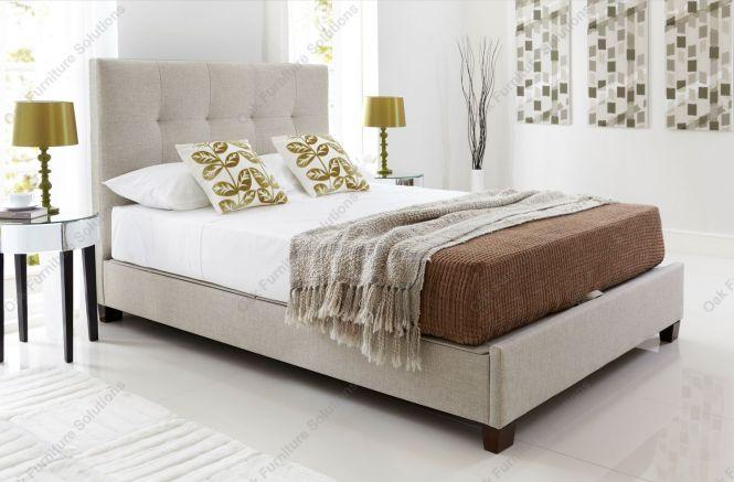 Kaydian Walkworth Oatmeal Fabric Ottoman Storage Bed Double King Size Or Super