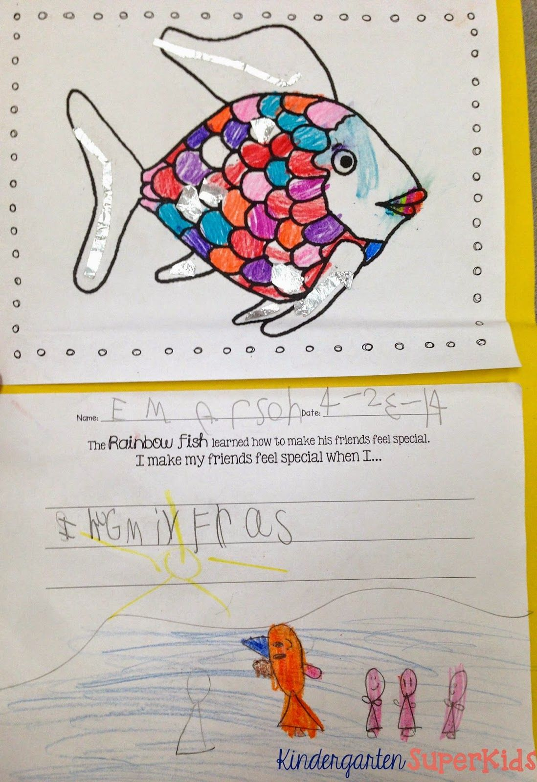 Free Rainbow Fish Coloring And Writing Activity