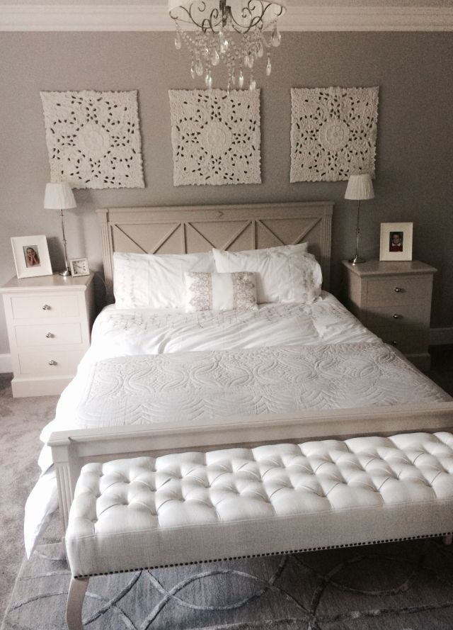 Relaxing grey bedroom with 3 wood look panels by Graham & Brown