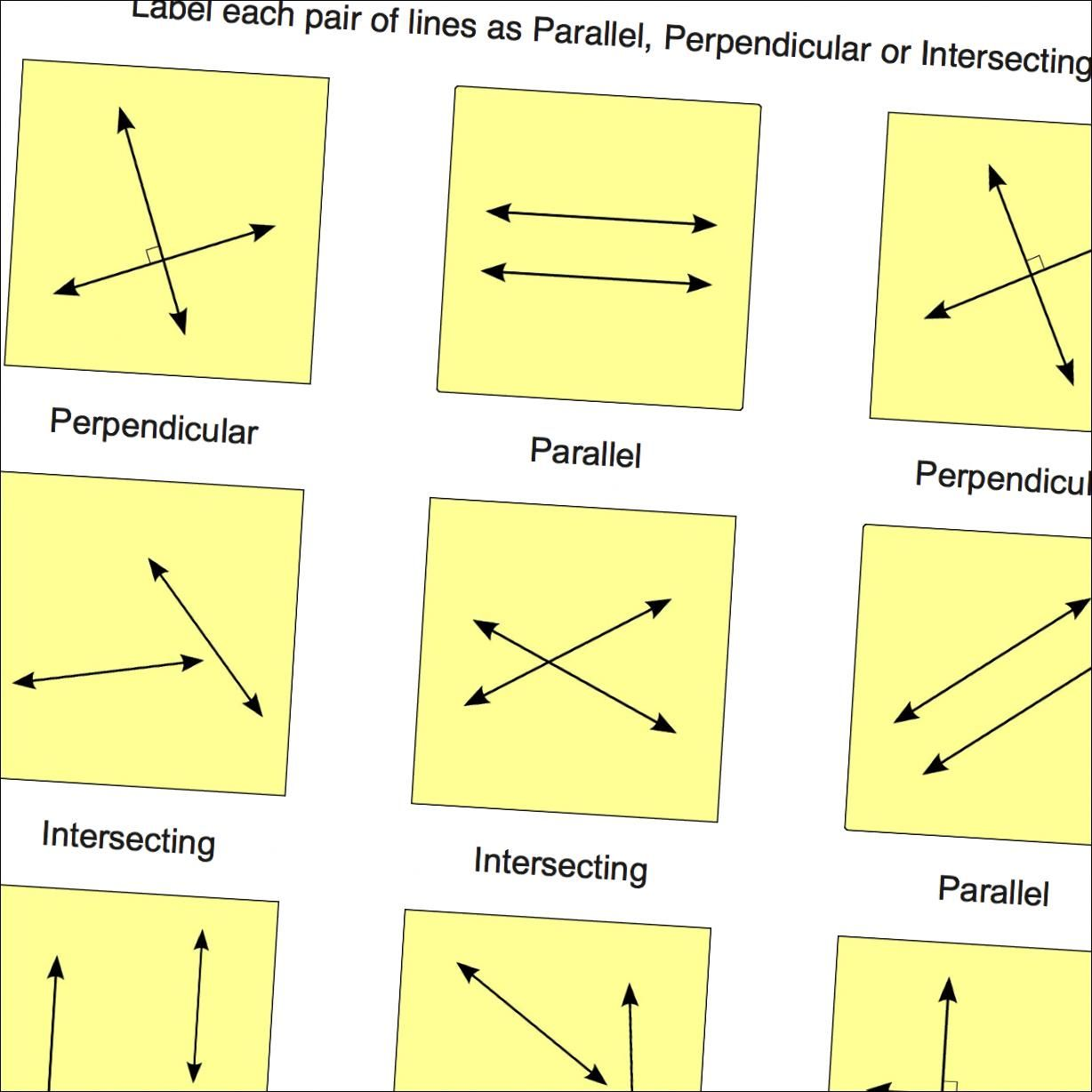 Geometry Worksheets Parallel Perpendicular Intersecting