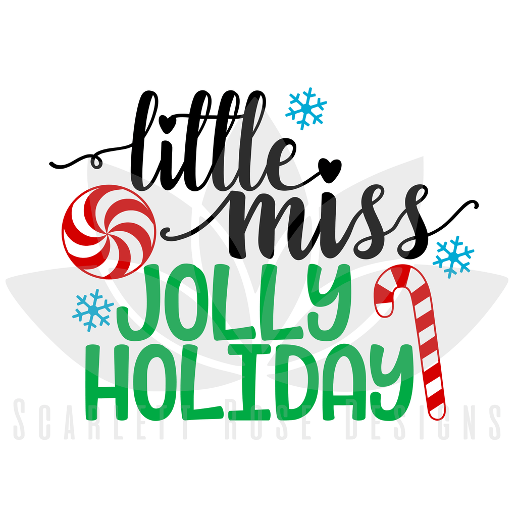 Christmas SVG cut file, Little Miss Jolly Holiday girl SVG
