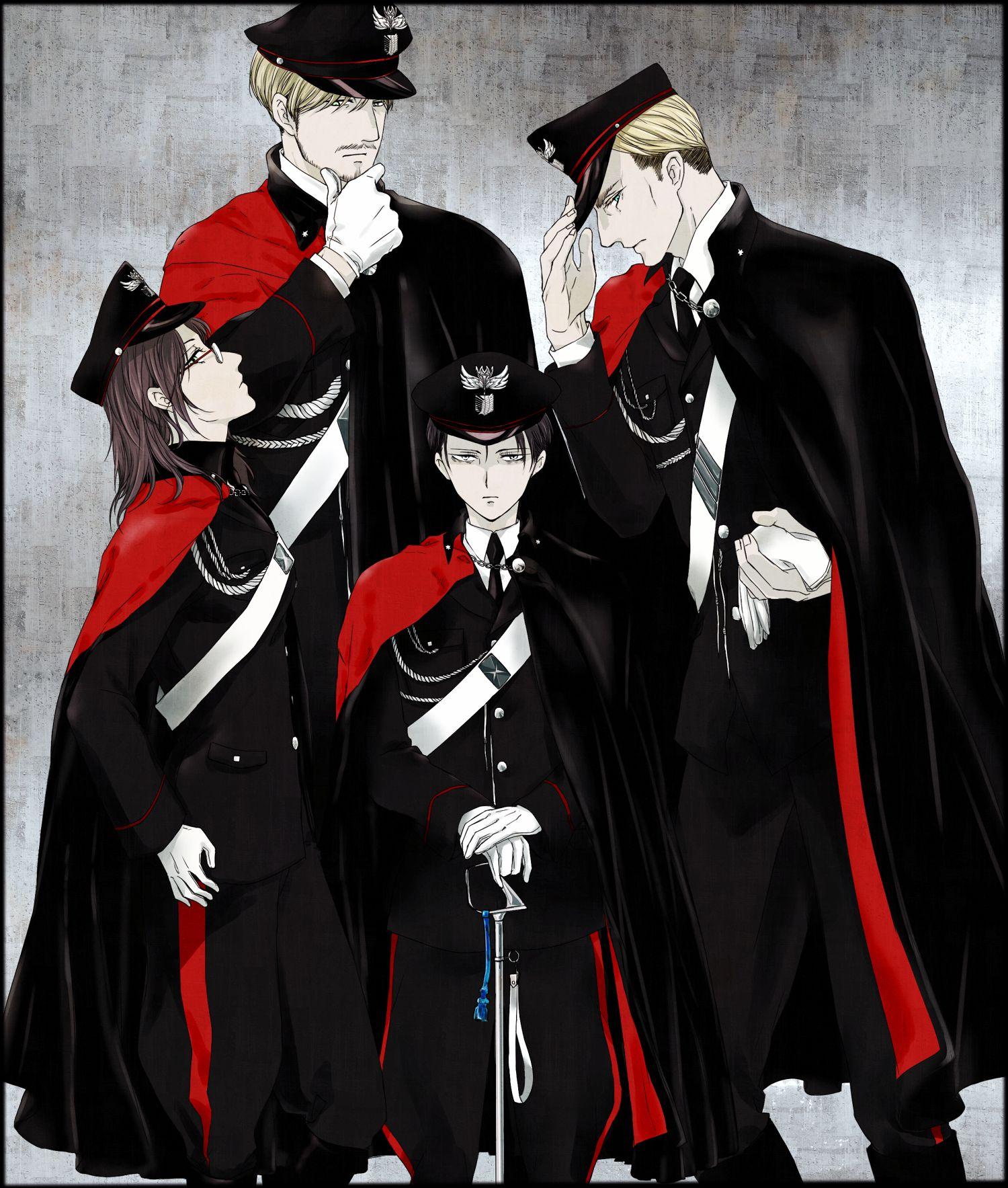 Shingeki no Kyojin, Mike Zacarius, Hange Zoë, Levi, Erwin
