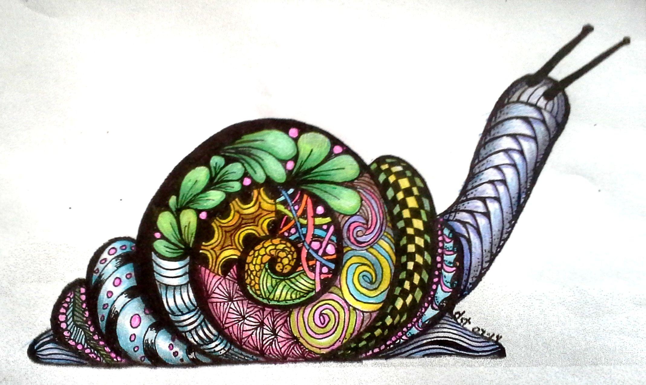 Baby Snail Zentangled & Colored E Z Art zentangle