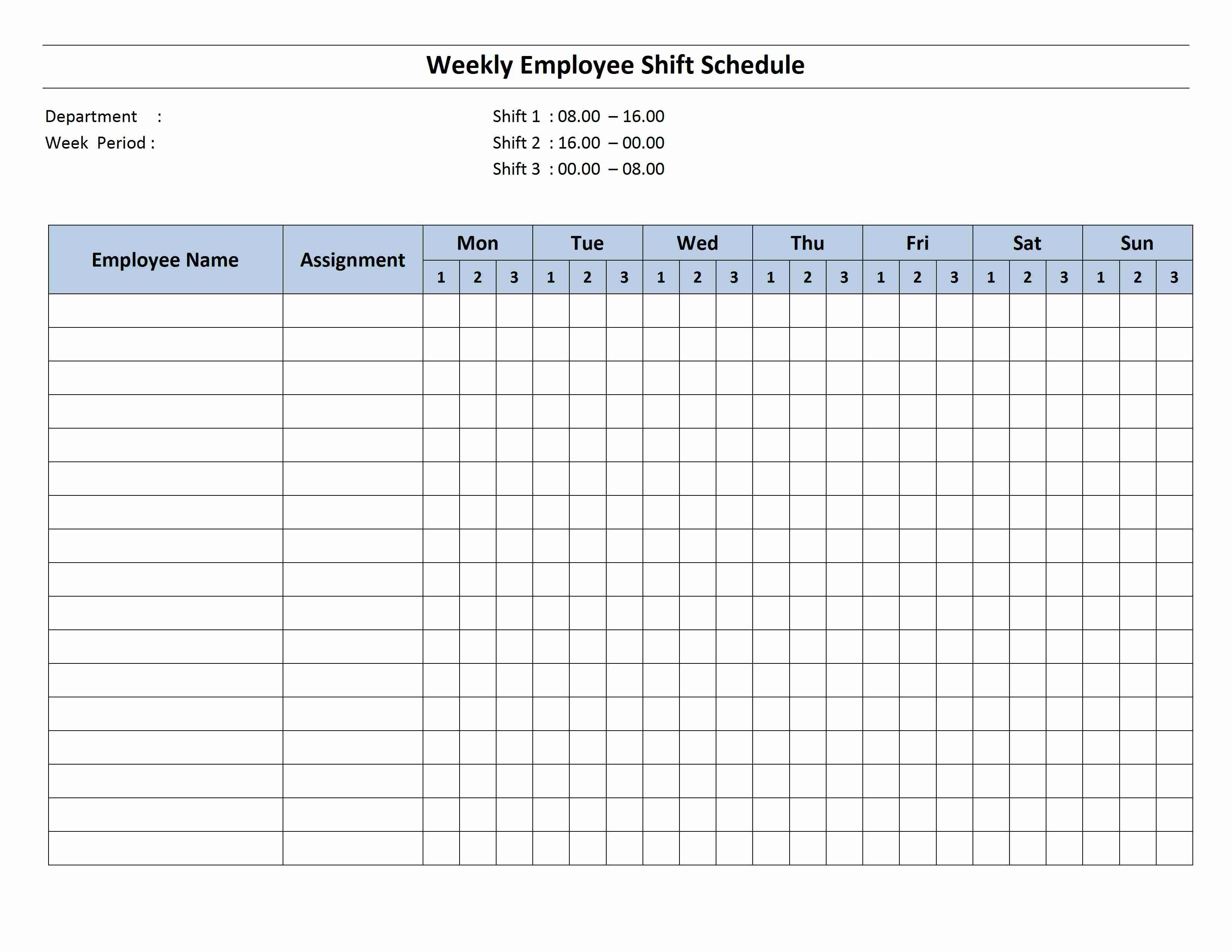 Free Monthly Work Schedule Template Weekly Employee 8 Hour Shift Schedule Template