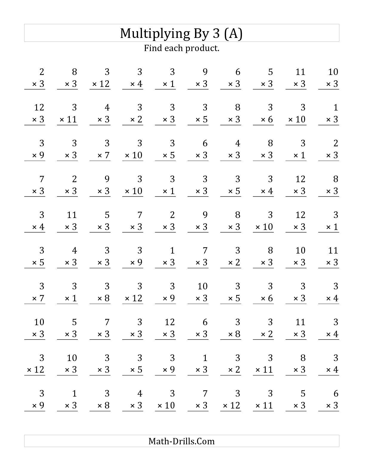The Multiplying 1 To 12 By 3 A Math Worksheet From The Multiplication Worksheet Page At Math