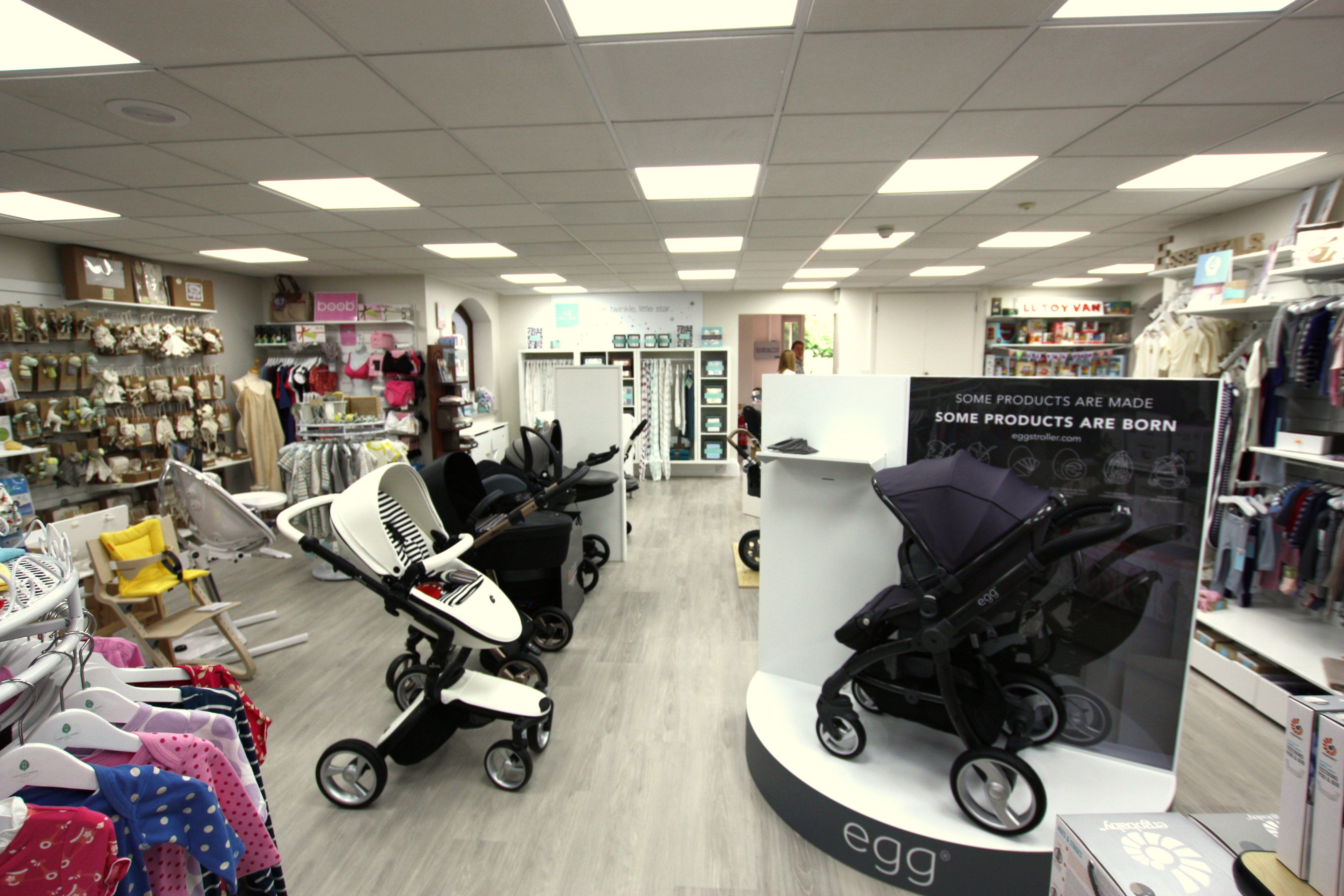 Our stroller display in our Bagshot baby store featuring