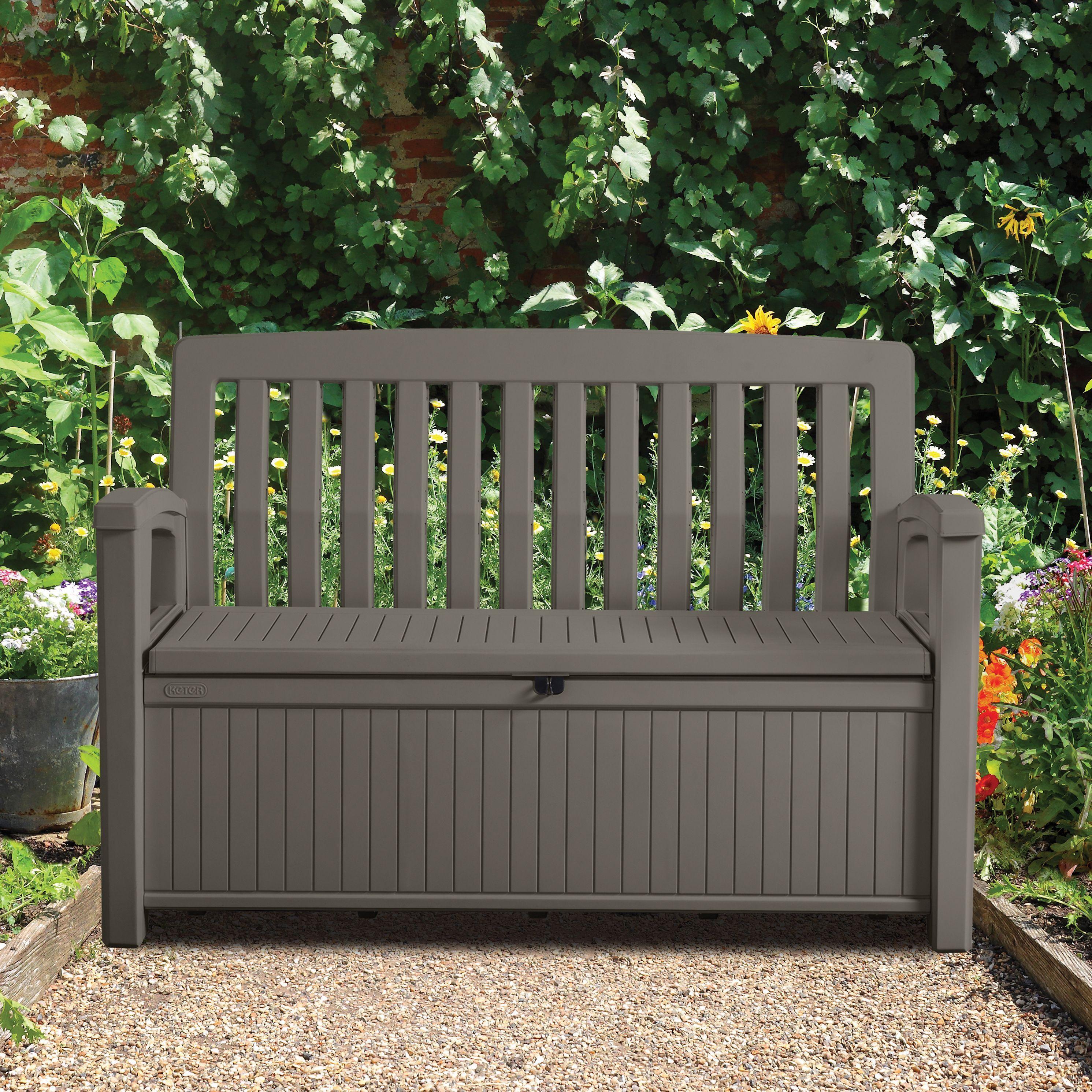 Plastic Garden Storage Bench Box Storage benches, Bench