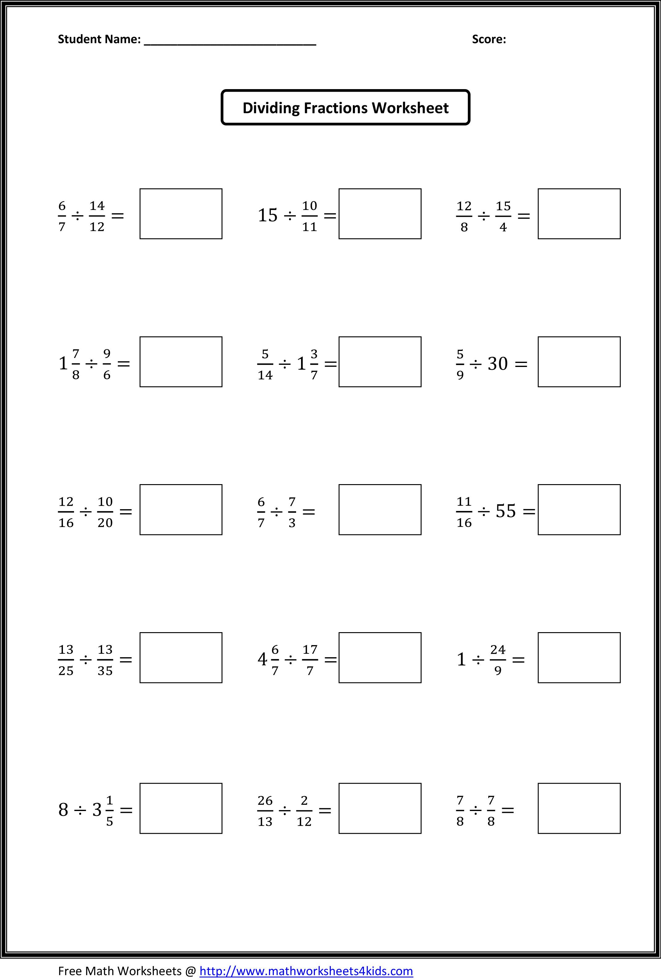 Dividing Fractions Worksheets What's New Pinterest