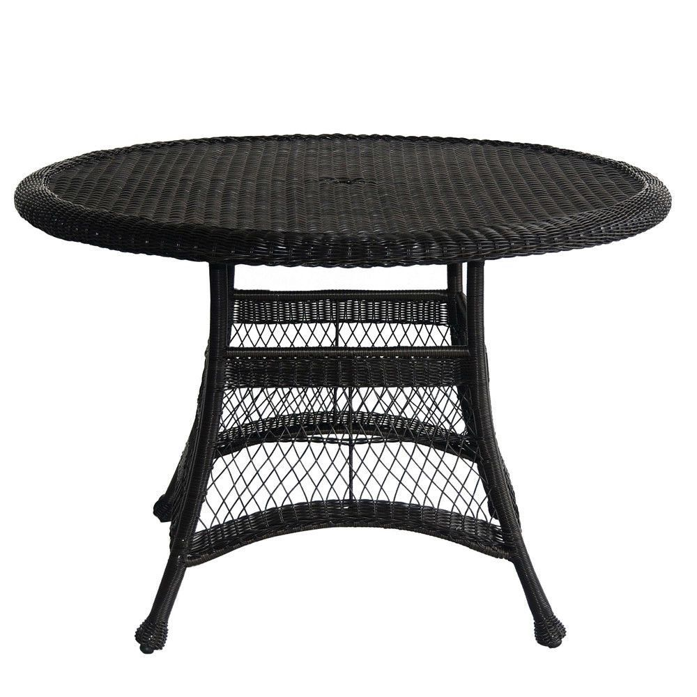 Black Resin Wicker 44.5inch Outdoor Dining Patio Table