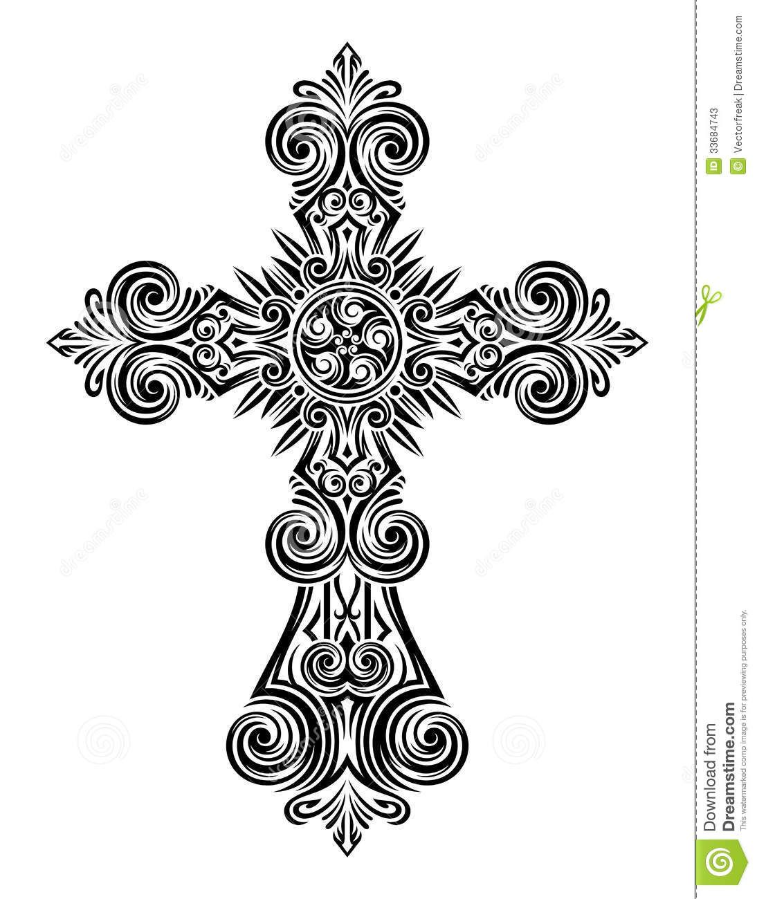 Vintage Cross Vector Fully Illustration Eps Black Isolated