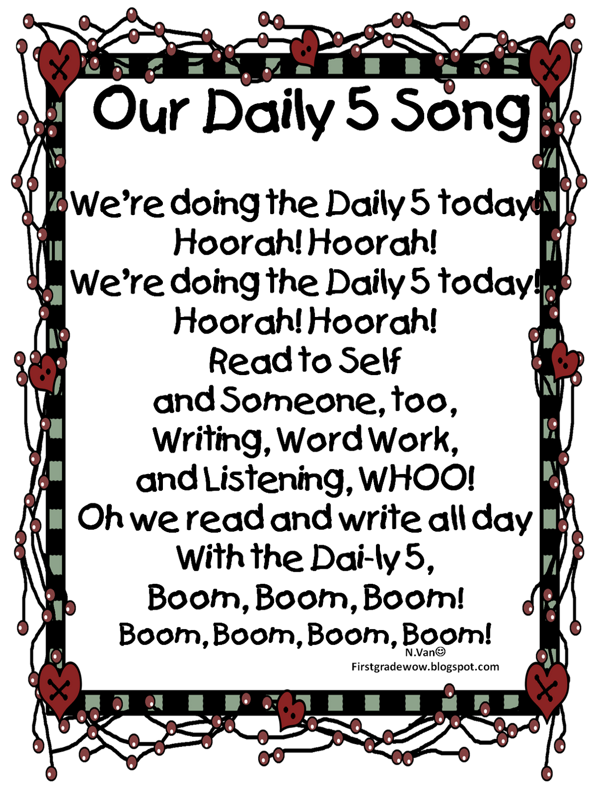 Our Daily Five Song Free Printable Students Can Sing