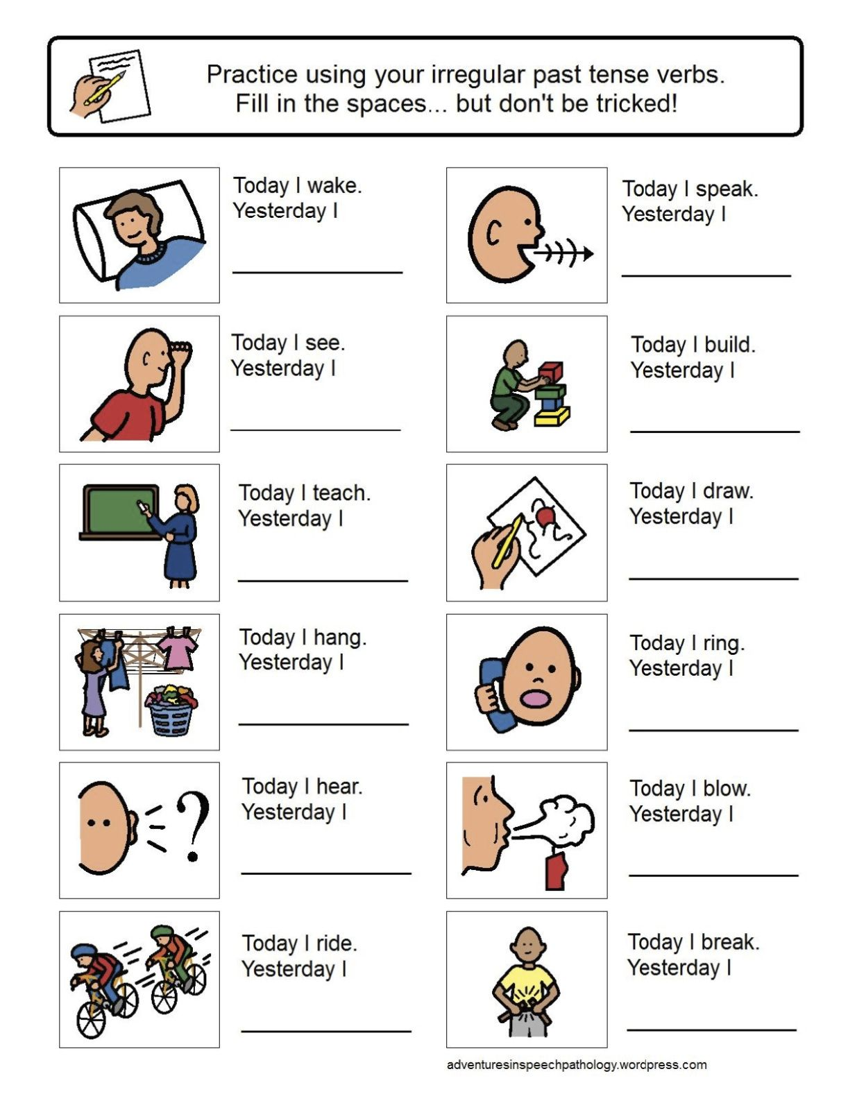 Irregular Past Tense Verb Worksheets