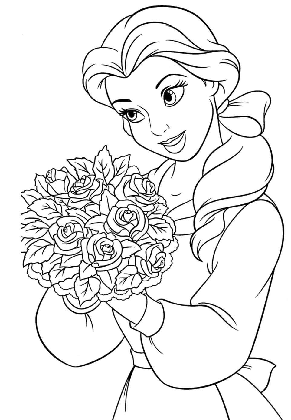 Princess Belle Carry Flowers Coloring Pages Princess