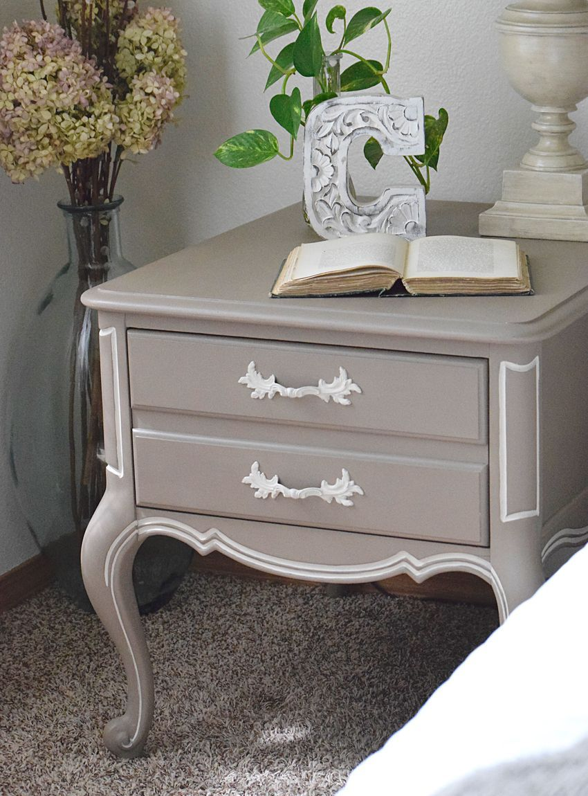 French Nightstand Bedside table makeover, French style
