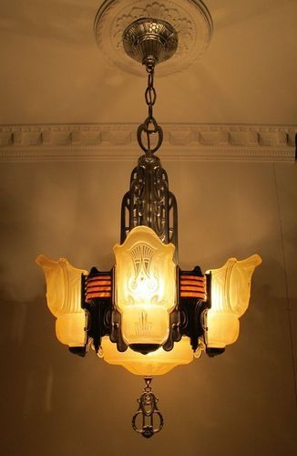 Rare 1920 S Machine Age Art Deco Chandelier Ceiling Fixture Slip Shade Bakelite