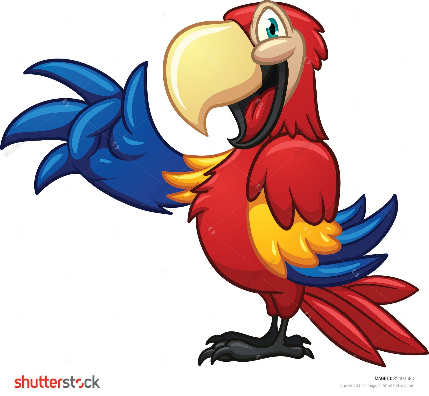 Cute cartoon macaw. Vector illustration with simple