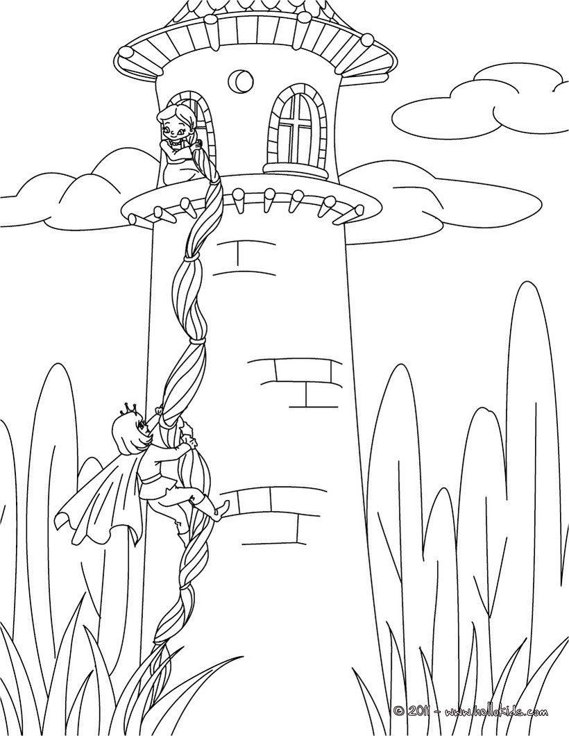 grimm fairy tales coloring pages  rapunzel grimm tale
