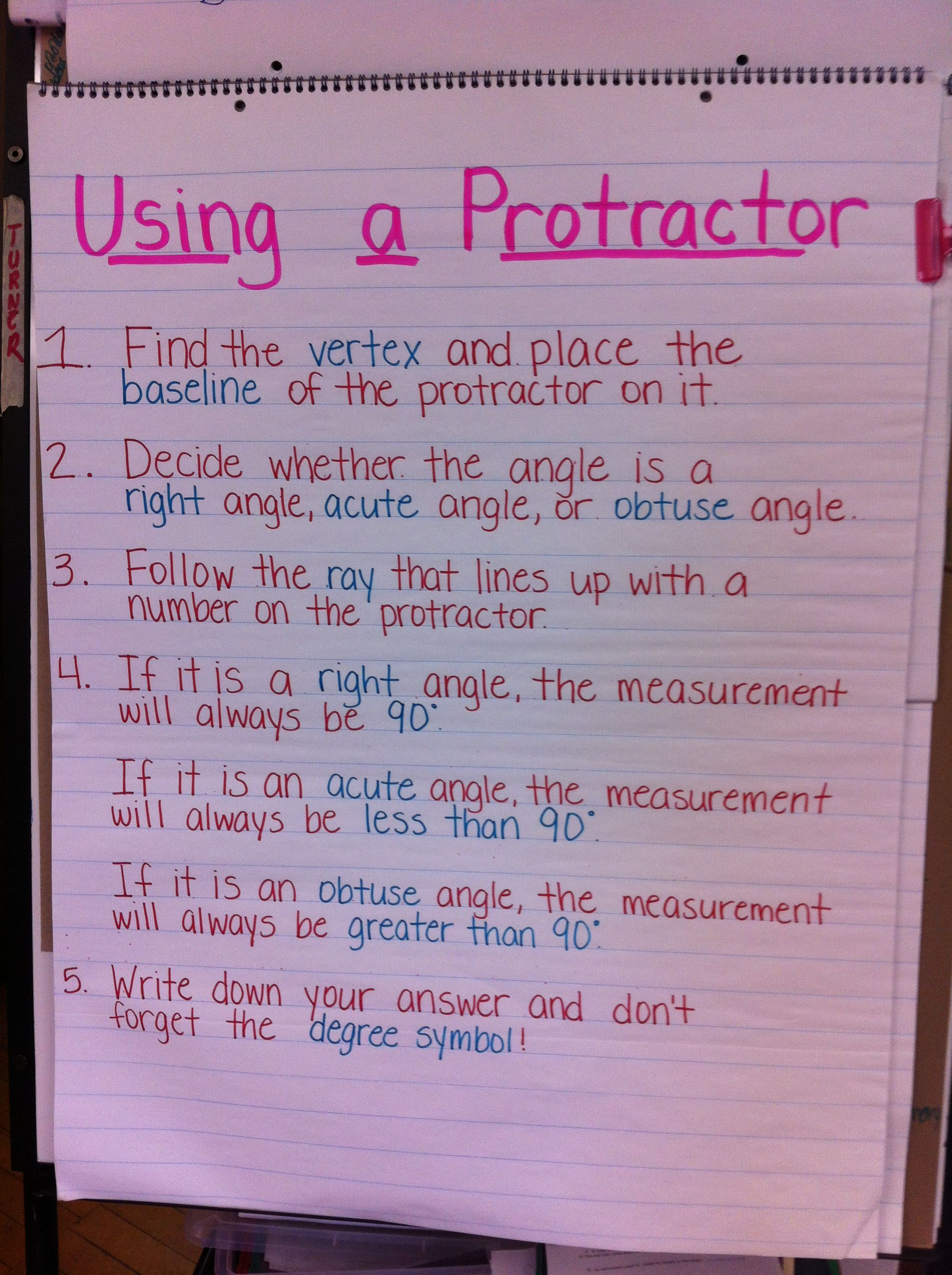 Steps On How To Use A Protractor Protractor Math Angles Teaching
