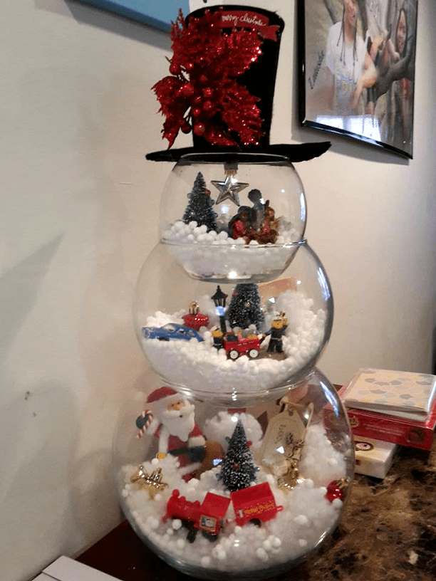 Fish Bowl Snowman Craft for a Christmas decoration