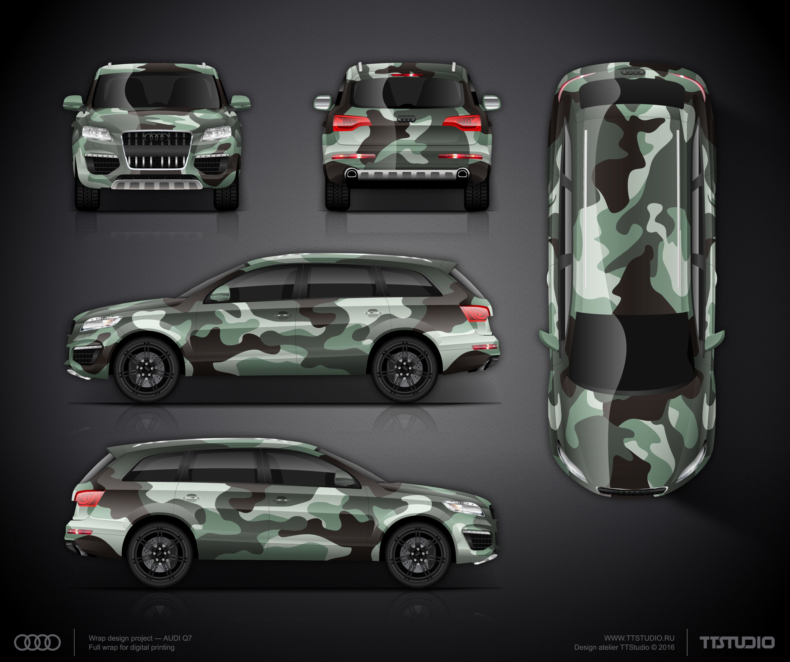 The approved camouflage wrap design for Audi Q7 Car wrap