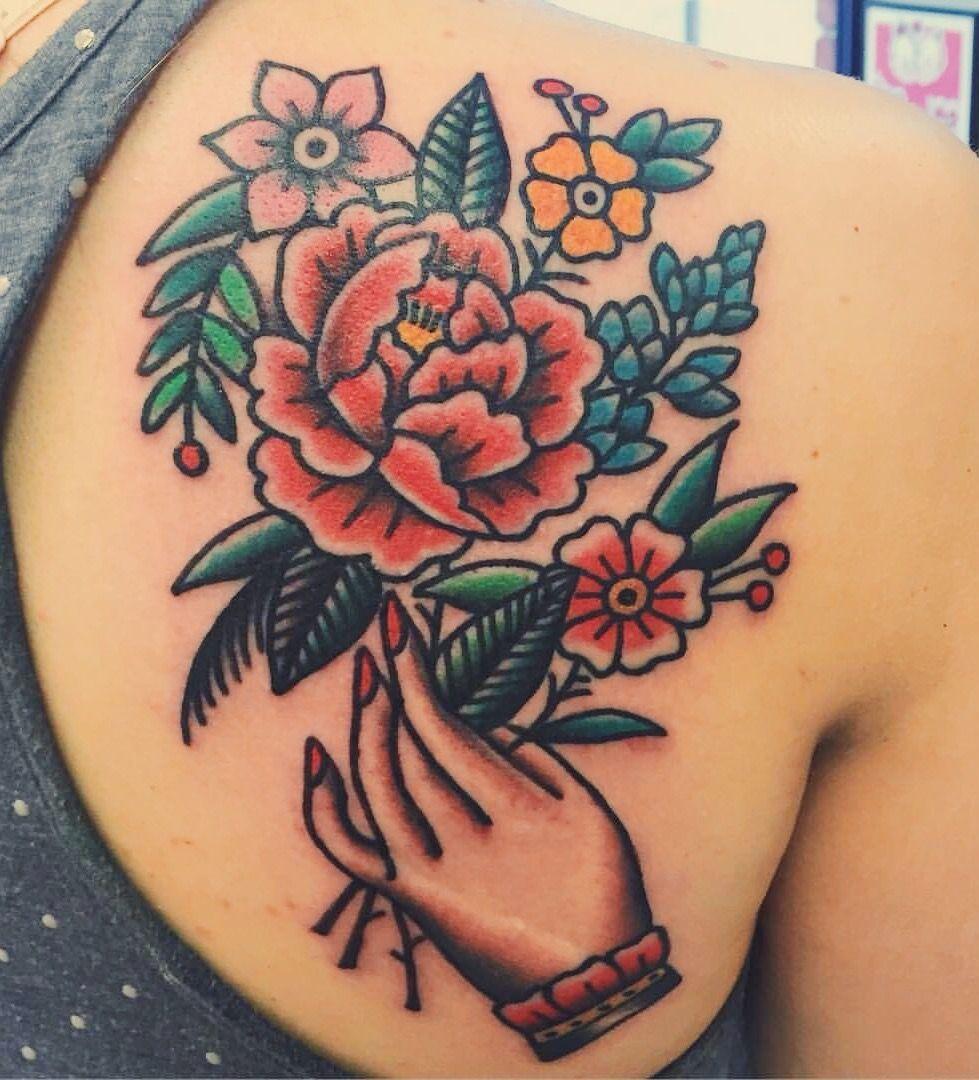 Flowers done by Joel Janiszyn, Black Anvil Tattoo Ft