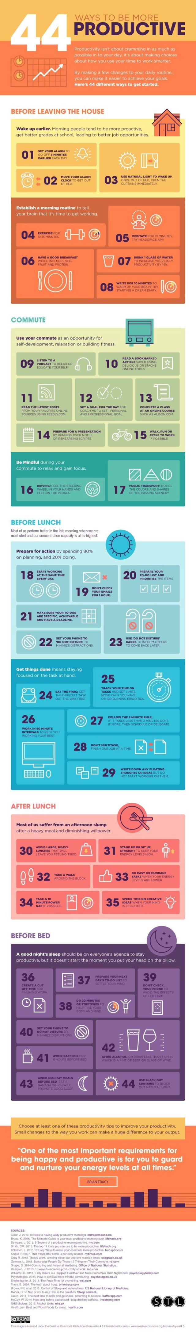 44 Ways To Be More Productive #Infographic