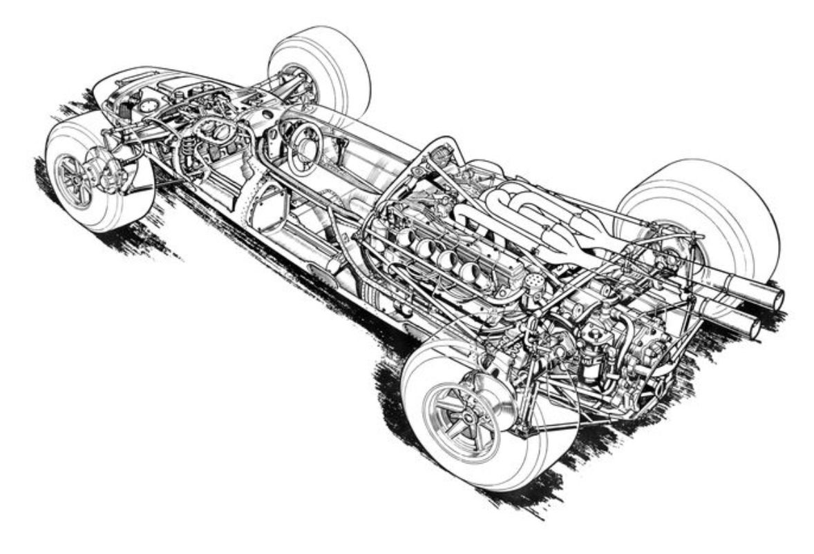 Lola T90 Ford Cutaway Drawing