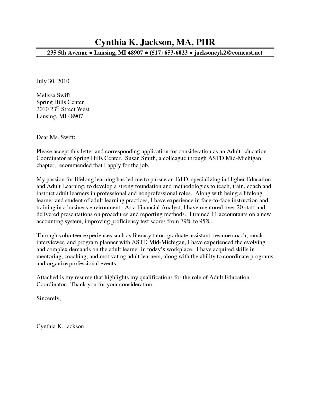Education Cordinator Cover Letter