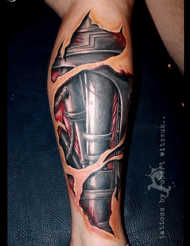 3D Realistic Tattoos 3D mechanical realistic leg tattoo
