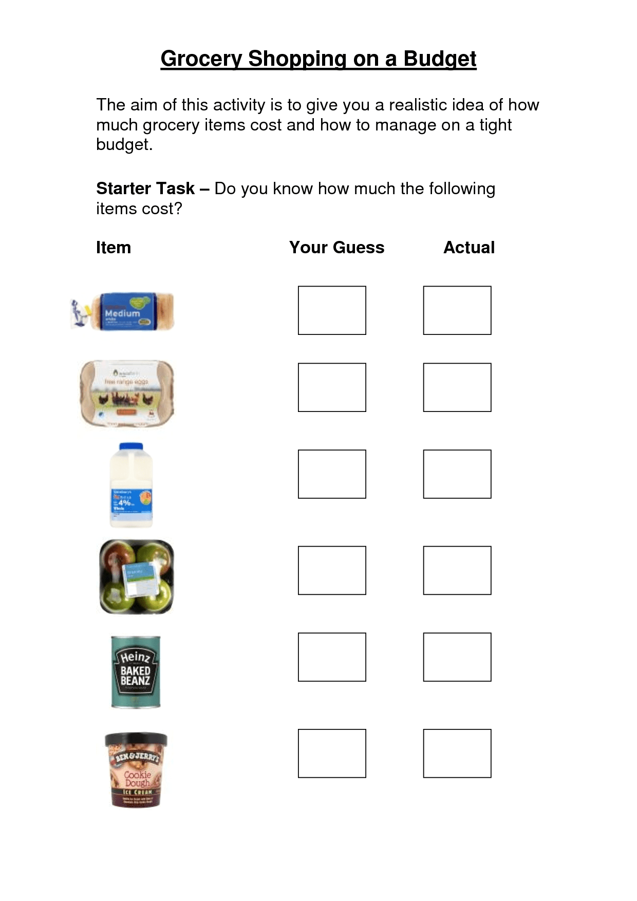 Grocery Store Worksheets